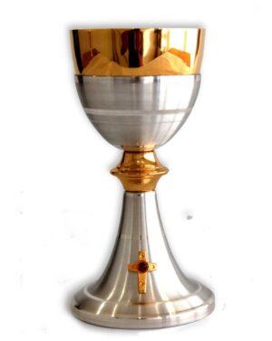 Cálice Italiano Dourado e Prateado com Cruz