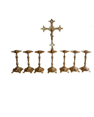 Castiçal c15 - 7 peças c/ Cruz Baixa p/ vela 2,5cm