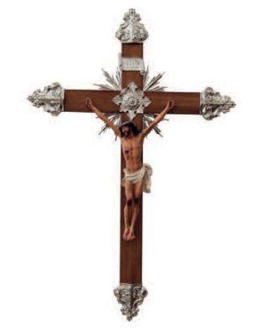 Crucifixo 65cm Ornado com metal - Banho de Níquel