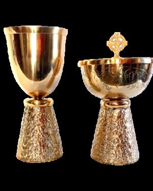 Conjunto de Cálice Âmbula Dourado