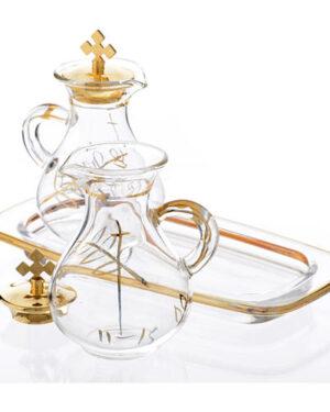 galhetas em vidro bandeja quadrada decoro ouro 1 1